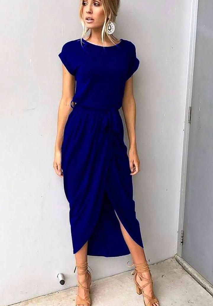 Sax kuşaklı asimetrik kesim elbise