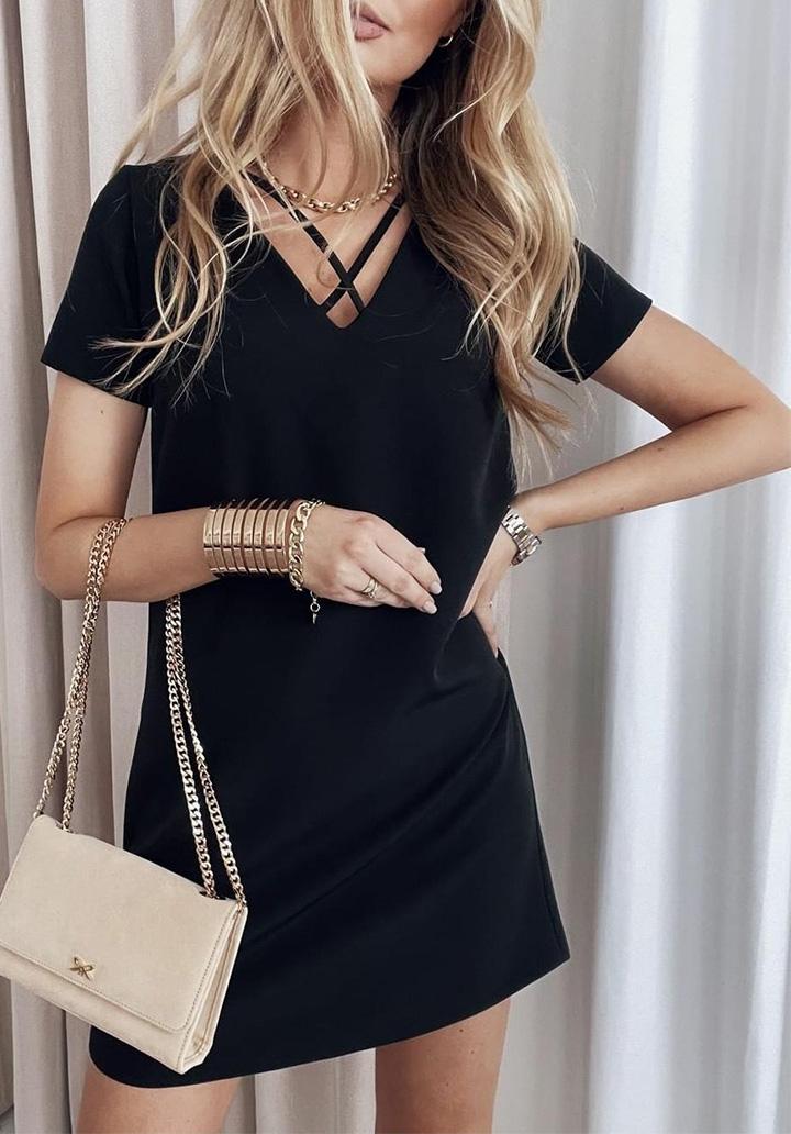 Siyah Yaka Detay Basic Elbise - 1