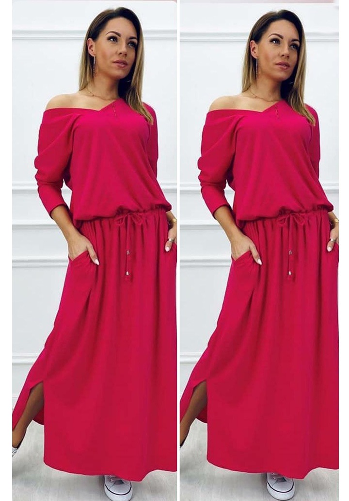 V Yaka Süprem Elbise (Bordo) - 1