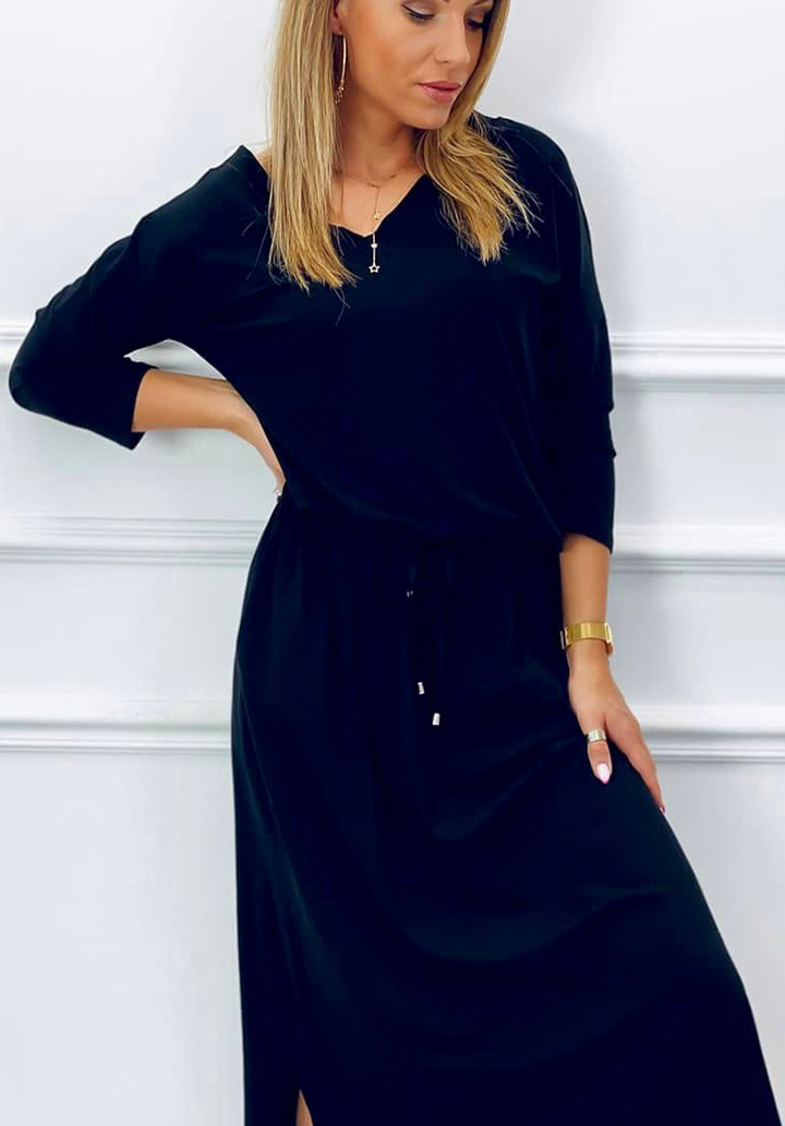 V Yaka Süprem Elbise (Siyah) - 1