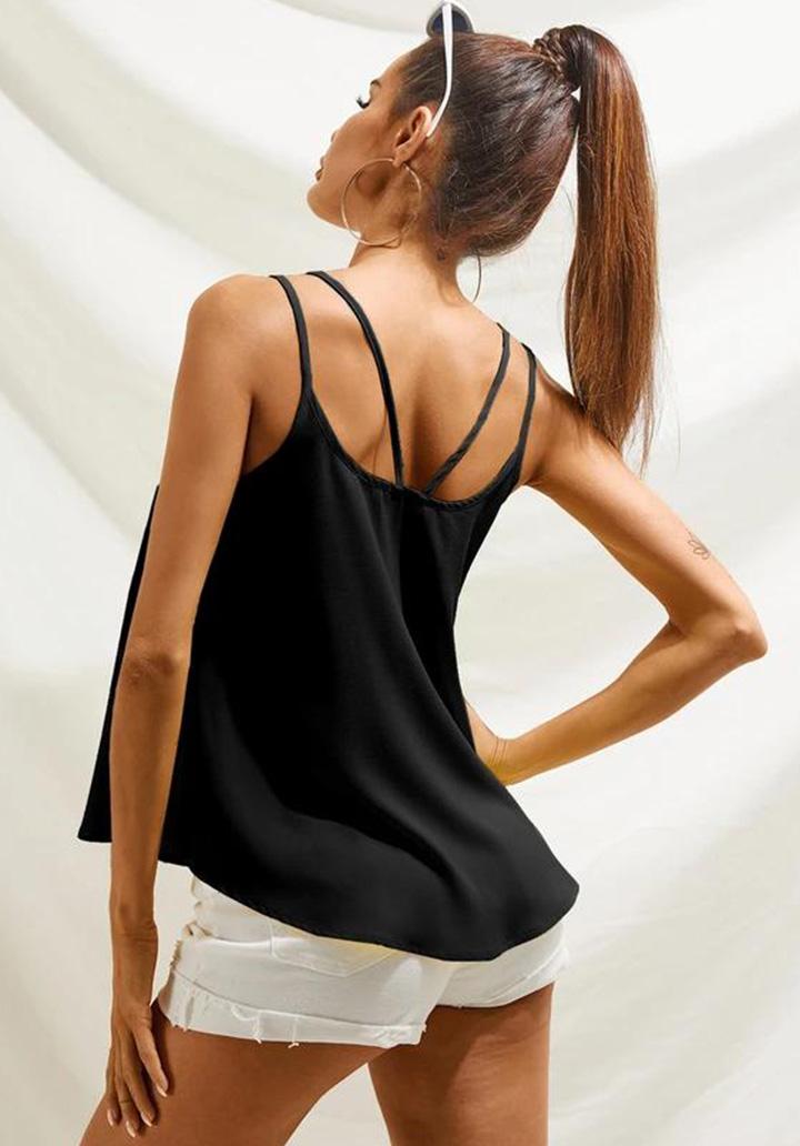 V Yaka Çift Askı Detay Sandy Bluz (Siyah)