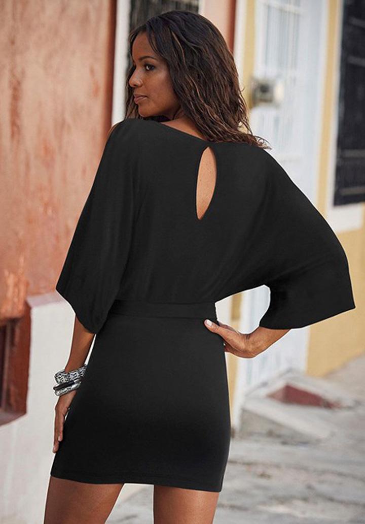 Omuz Dekolteli Kuşaklı Elbise