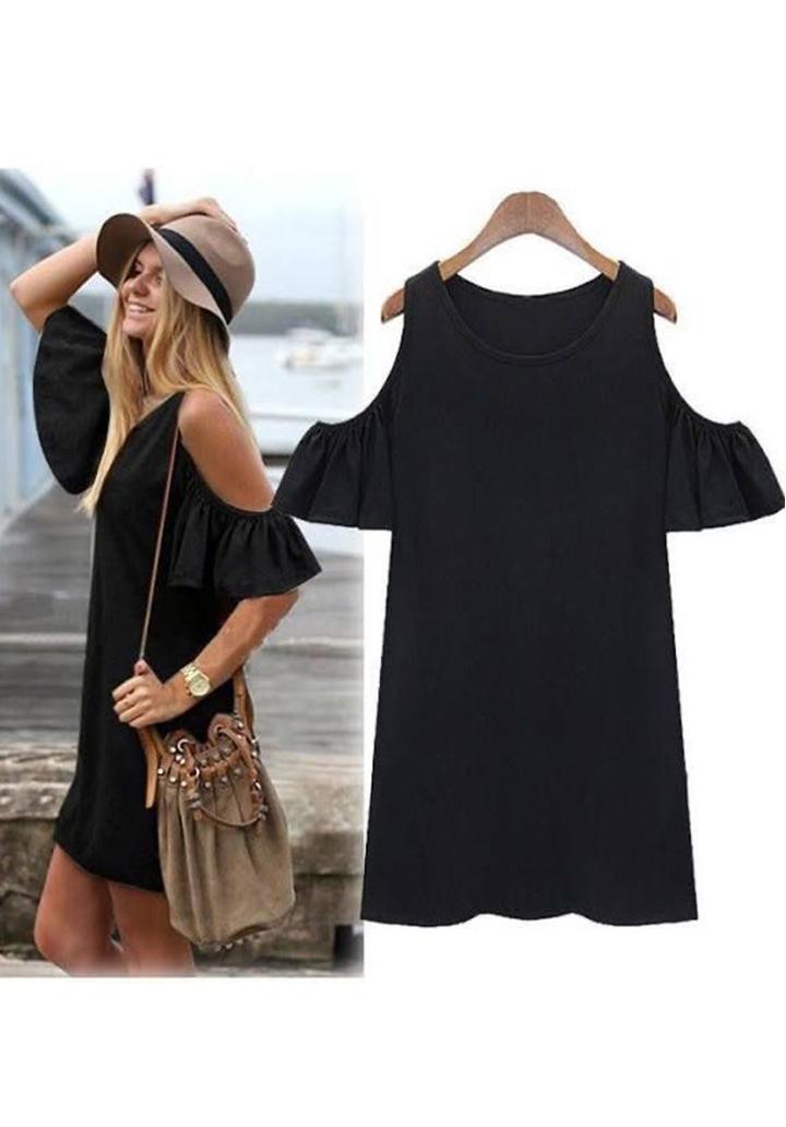 Omuz Detay Basic Elbise (Siyah)