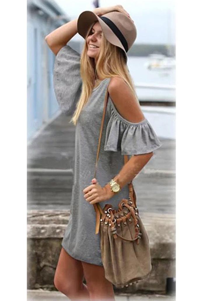 Omuz Detay Basic Elbise (Gri)