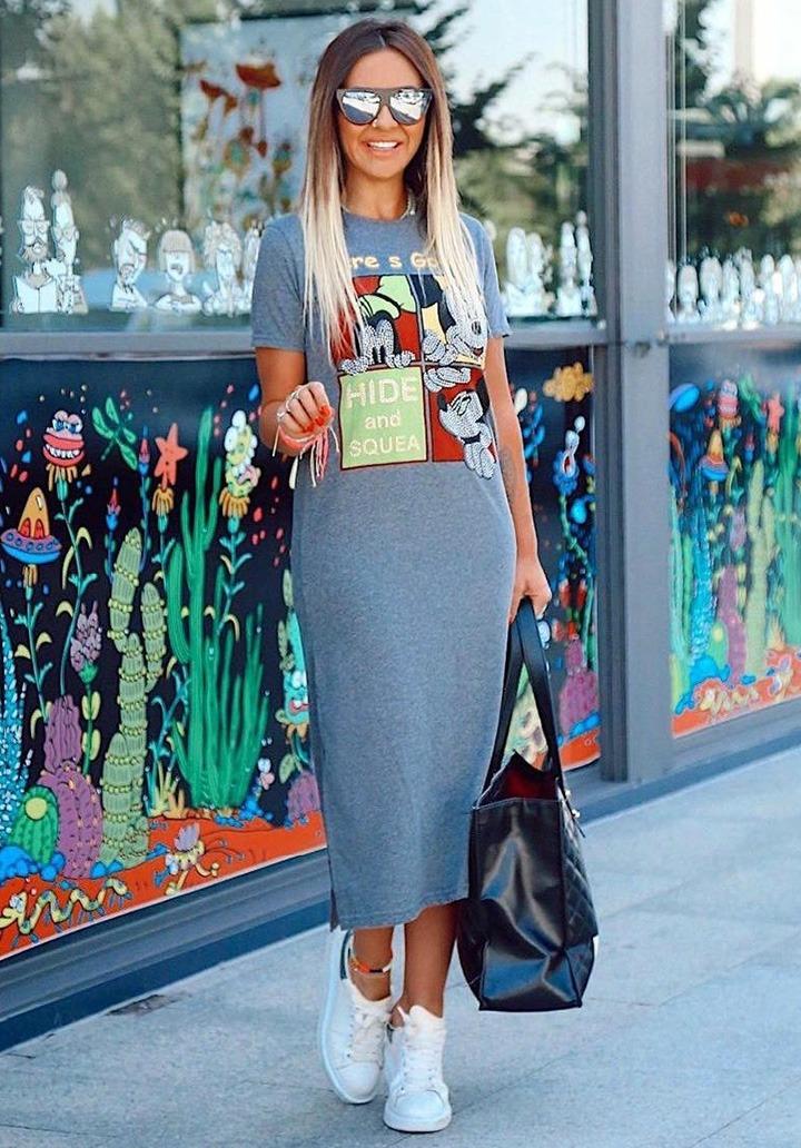 Dsny Taş İşleme Özel Baskı Basic Elbise