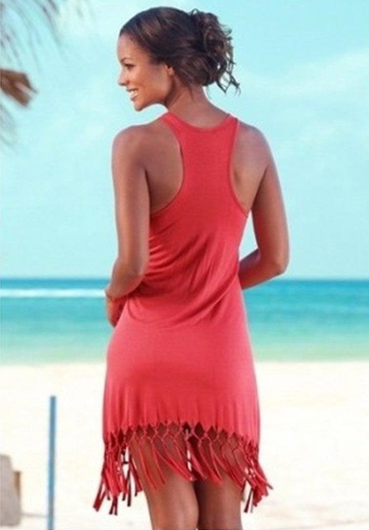 Eteği Saçaklı Kolsuz Viscon Elbise (Kırmızı)