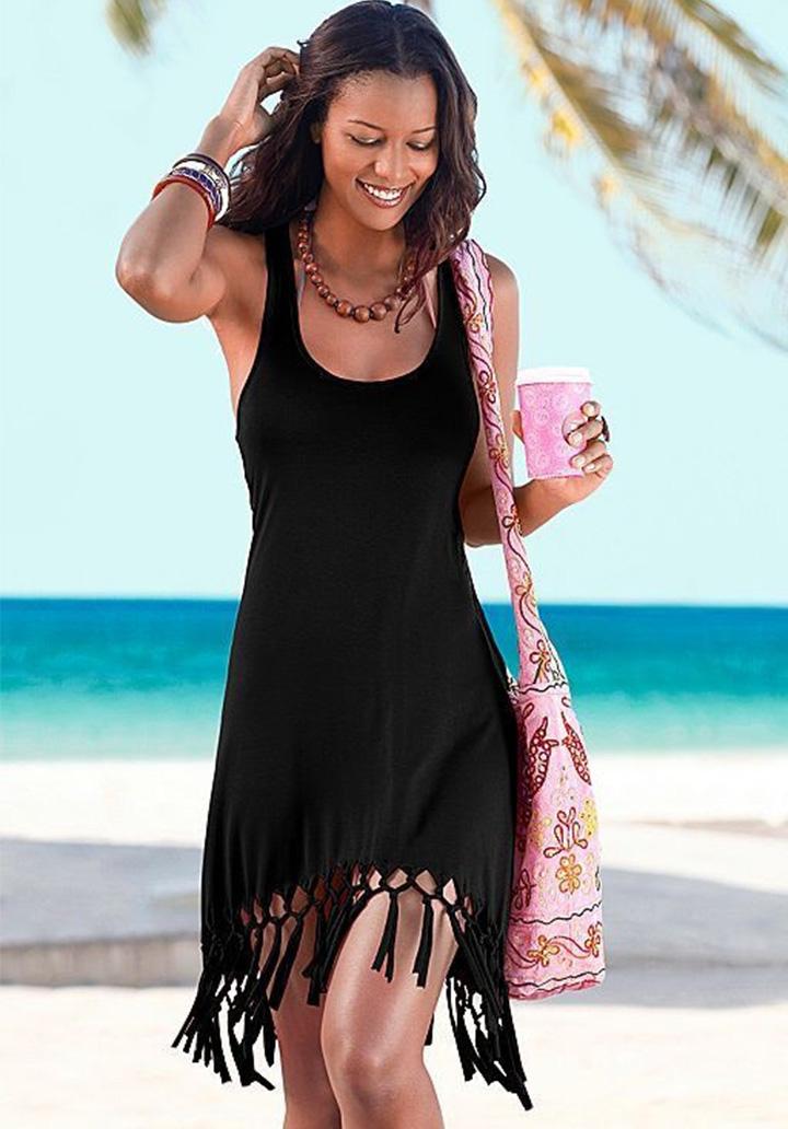 Eteği Saçaklı Kolsuz Viscon Elbise (Siyah)