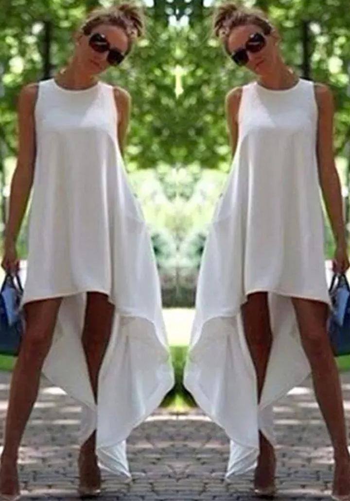 Asimetrik Kesim Kolsuz Elbise-Tunik (Beyaz)