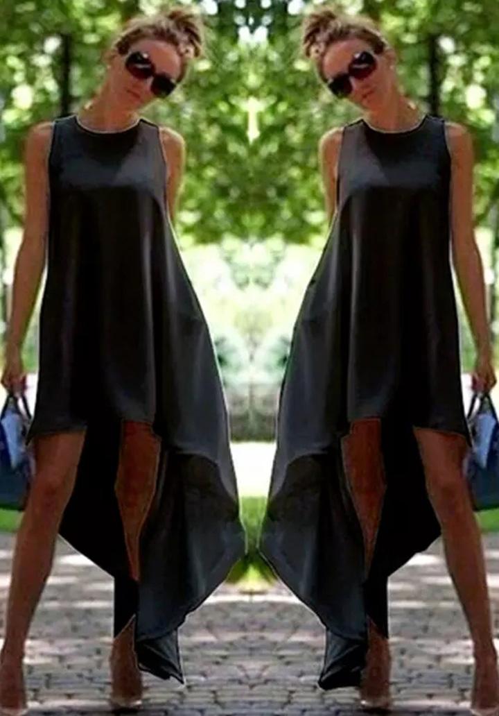 Asimetrik Kesim Kolsuz Elbise-Tunik (Siyah)