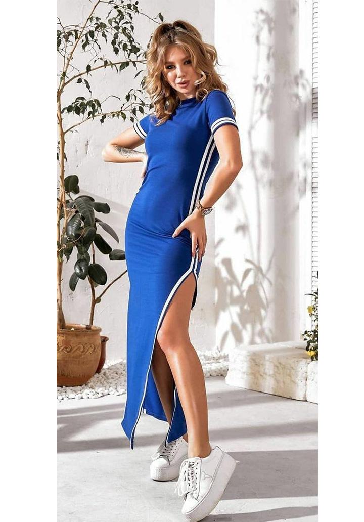 Yırtmaç Detay Ribanalı Spor Elbise (Sax)