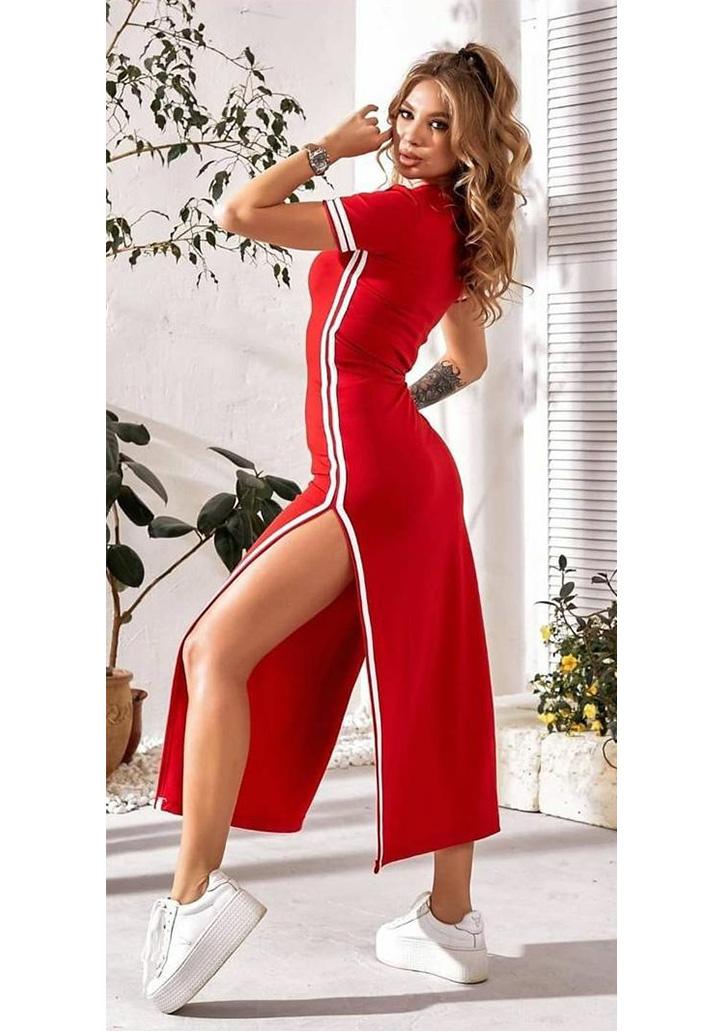 Yırtmaç Detay Ribanalı Spor Elbise (Kırmızı)