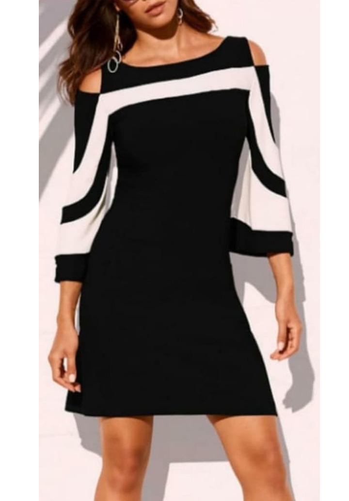 Yarasa Kol Omuz Dekolteli Elbise (Siyah)