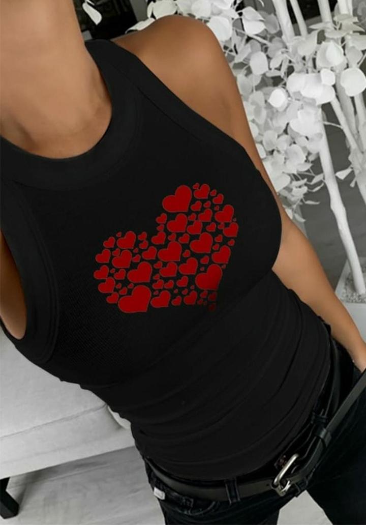Kalp Desen Baskılı Kaşkorse Bluz