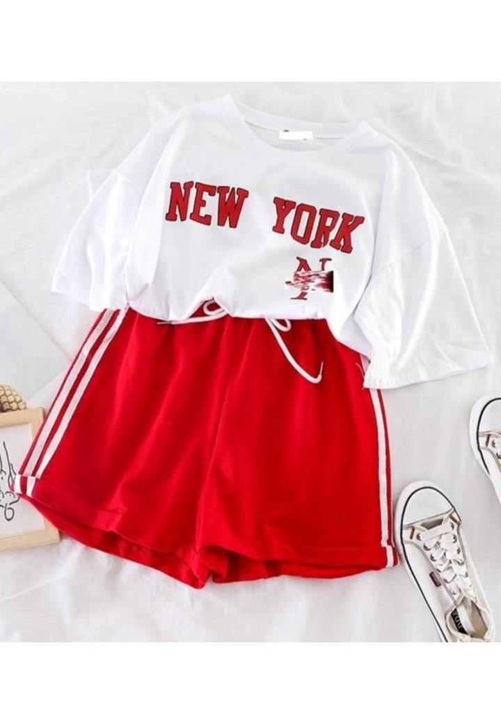 New York Tshırt Şort İkili Takım (Kırmızı)