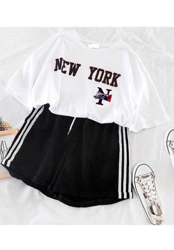 New York Tshırt Şort İkili Takım (Siyah)