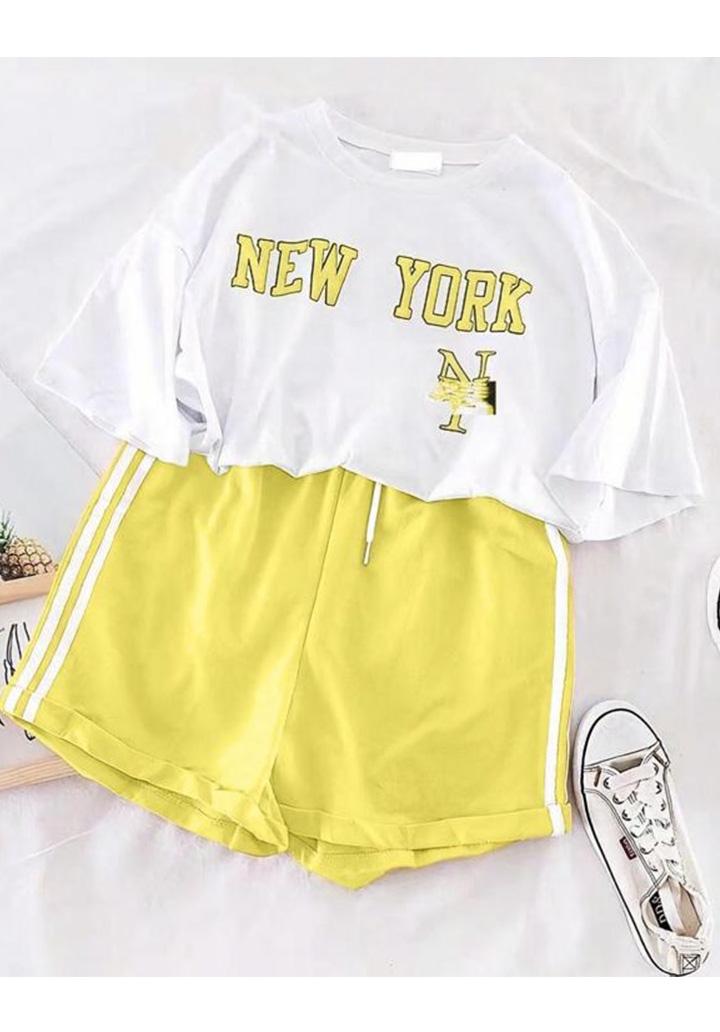 New York Tshırt Şort İkili Takım (Sarı)