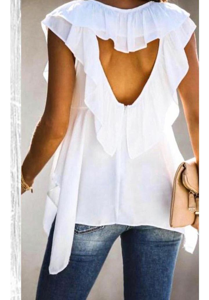 Sırt Dekolteli Tasarım Bluz (Beyaz)