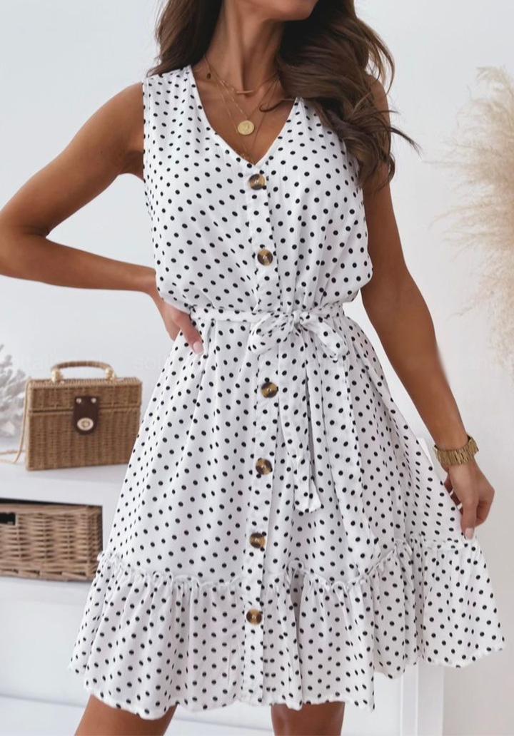 Puantiyeli Kolsuz Düğmeli Elbise (Beyaz)