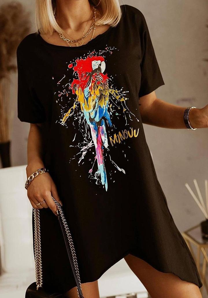 Papağan Baskılı Asimetrik Kesim Tunik-Elbise (Siyah)