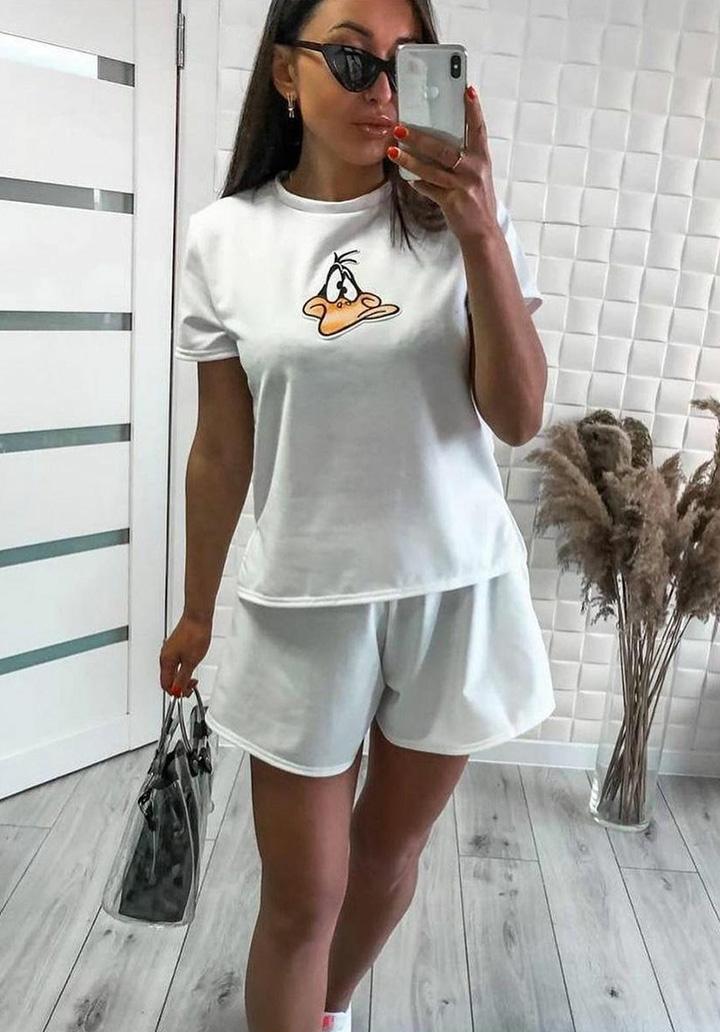 Daffy Baskılı Basic Spor Takım (Beyaz)