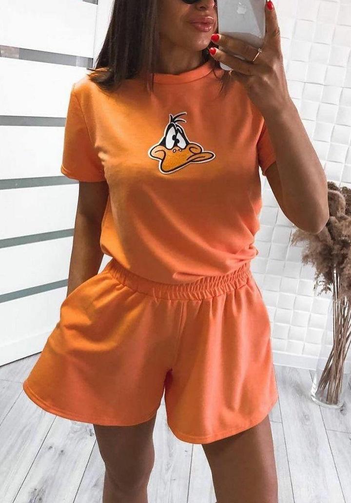 Daffy Baskılı Basic Spor Takım (Orange)