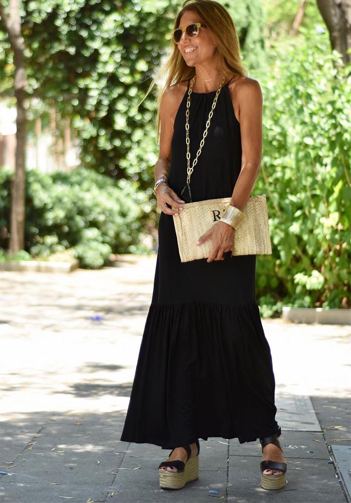 Maxı Boy Eteği Volanlı Viscon Elbise (Siyah)