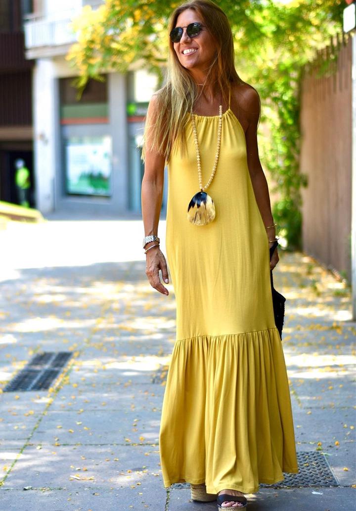 Maxı Boy Eteği Volanlı Viscon Elbise (Sarı)