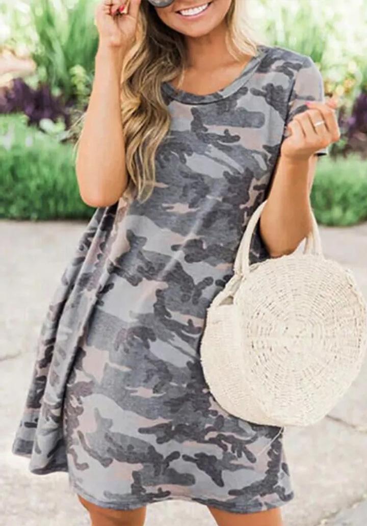 Kamuflaj Desen Cepli Basic Elbise