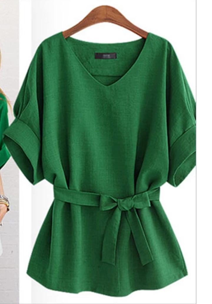 Duble Kol V Yaka Airobin Bluz (Yeşil)