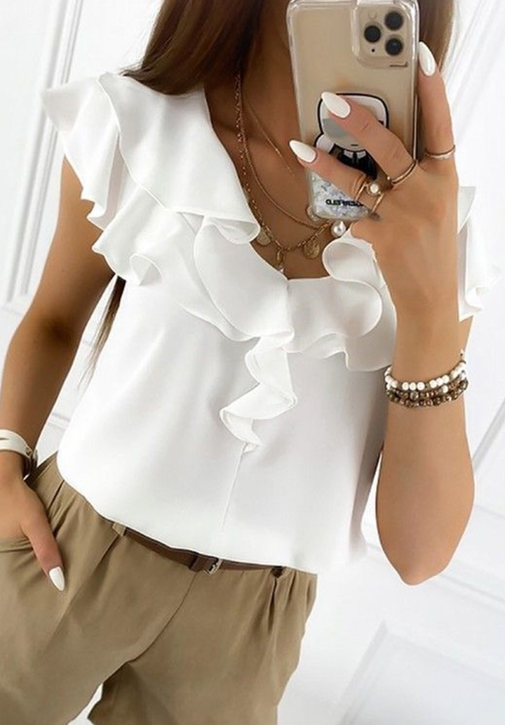 Yaka Fırfır Detay Crep Bluz (Beyaz)