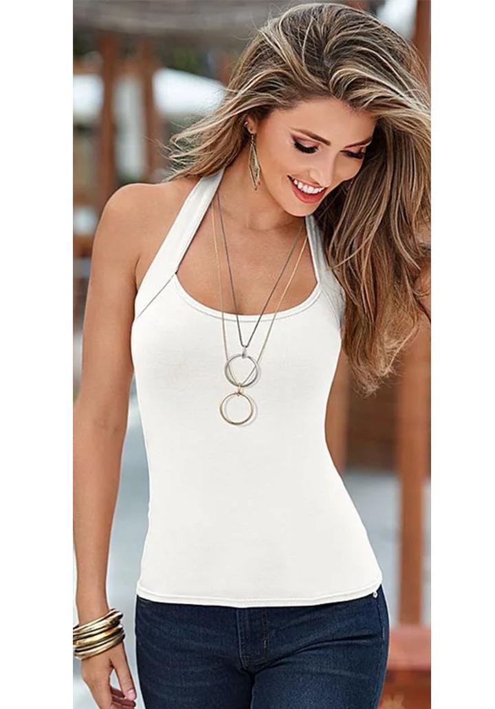 Boyun Askılı Süprem Bluz (Beyaz)
