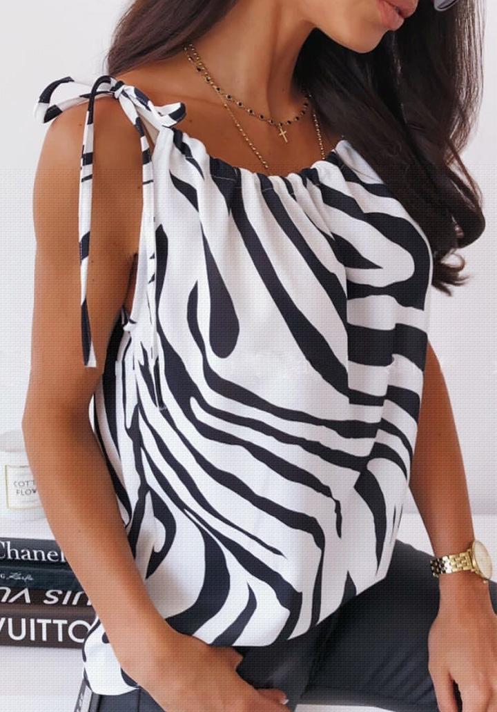 Zebra Desen Askı Bağcık Detay Bluz