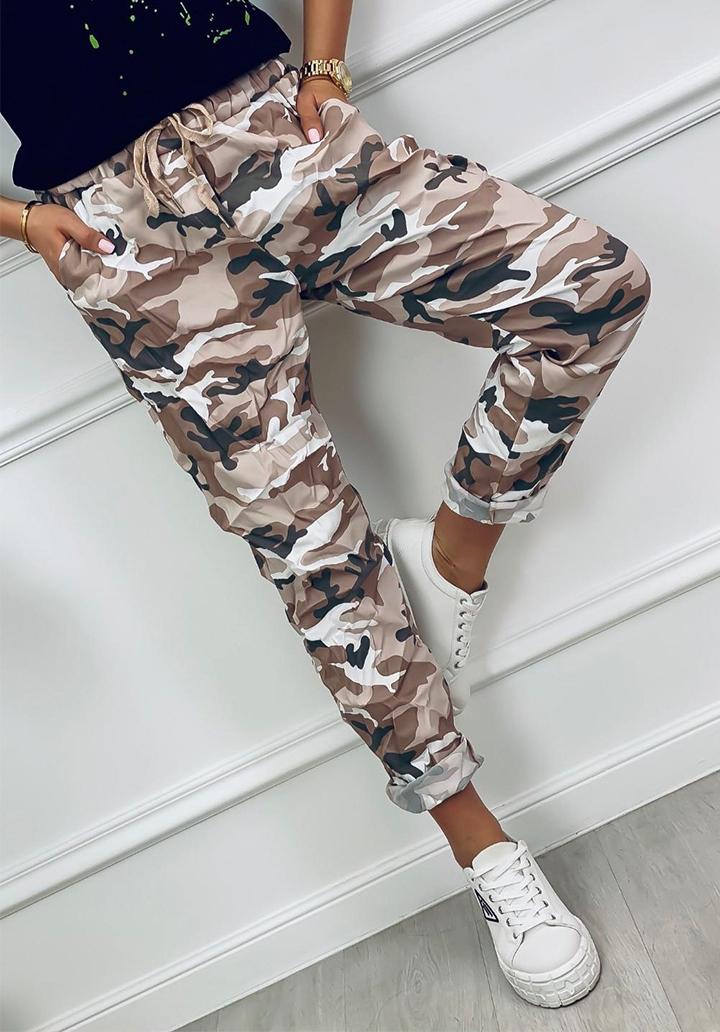 Kamuflaj Desen Çift İplik Kumaş Pantolon