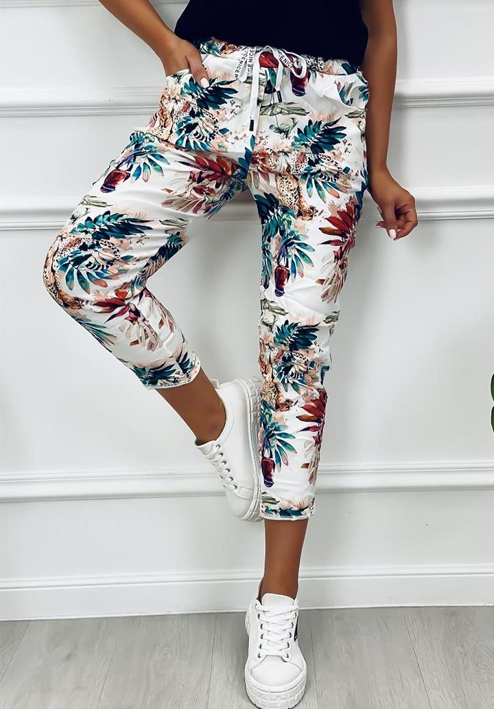 Yaprak Desen Çift İplik Kumaş Pantolon