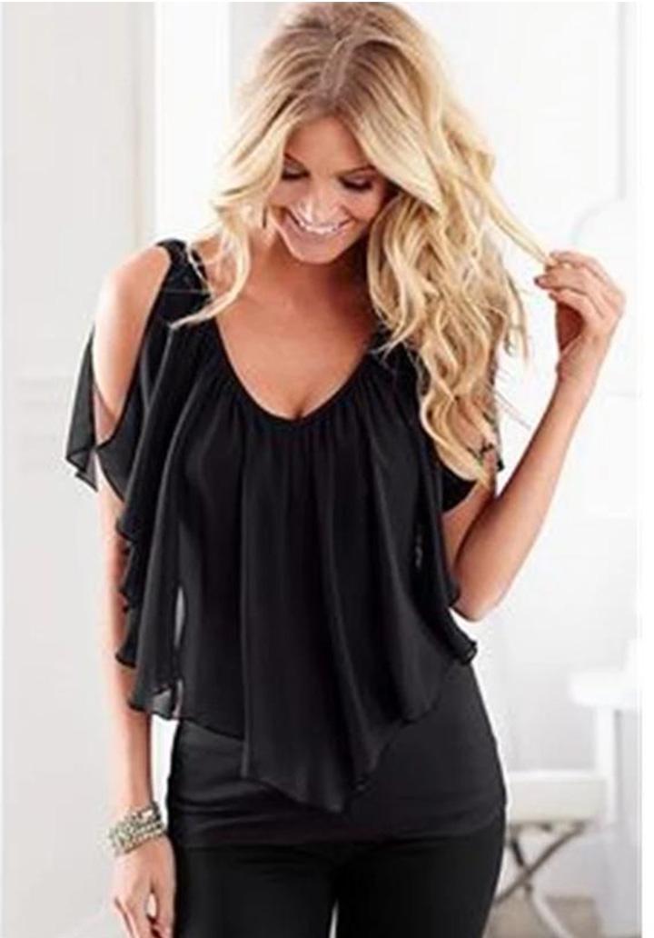Tül Volanlı Sandy Tasarım Bluz (Siyah)