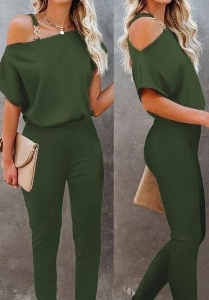 Askı Halka Detay Bluz Pantolon Takım (Yeşil)