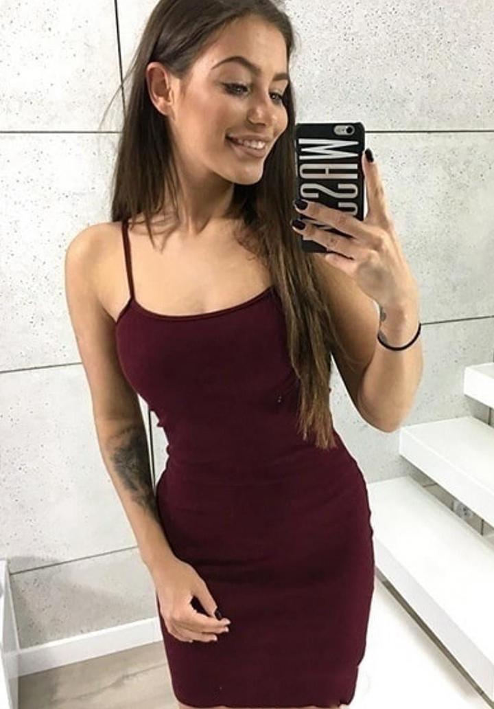 İp Askılı Basic Mini Elbise (Bordo) - 1