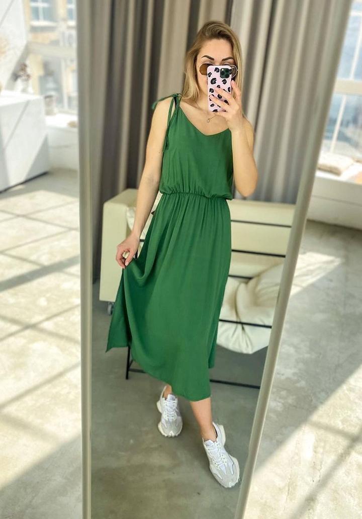 Askı Detay Beli Lastikli Midi Boy Elbise (Koyu Yeşil) - 1