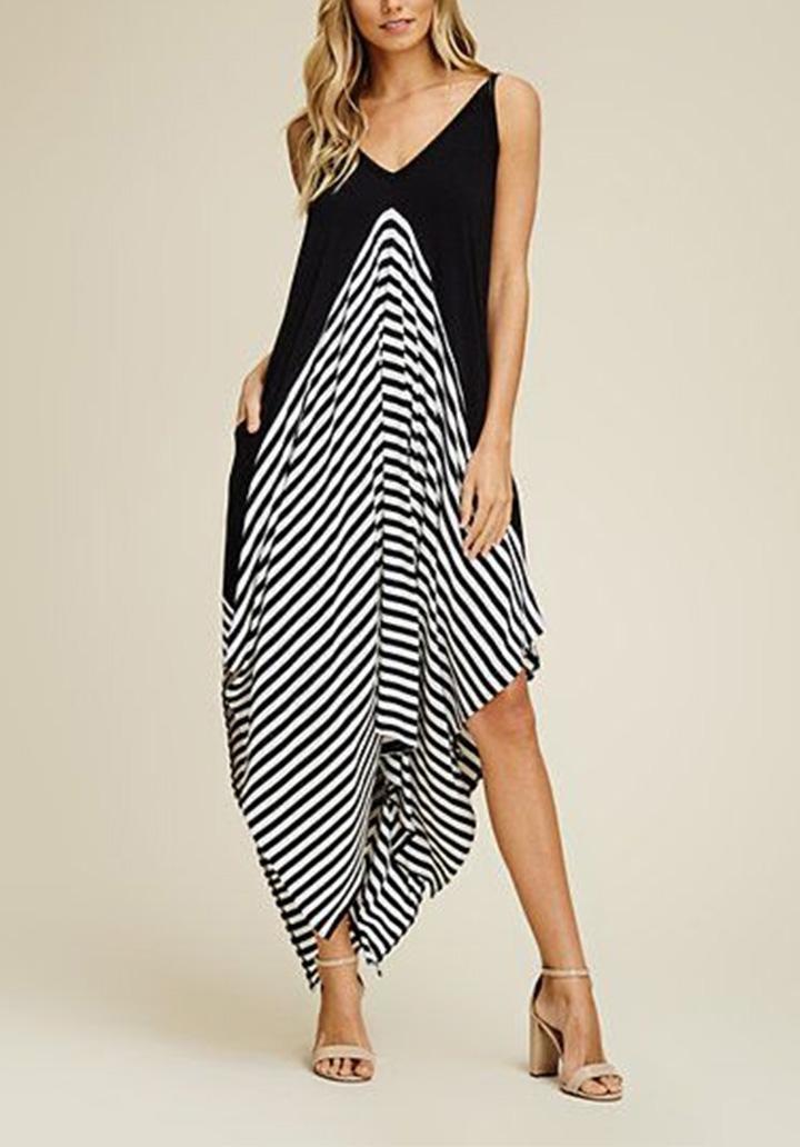 İp Askılı Siyah Garnili Asimetrik Kesim Elbise - 1