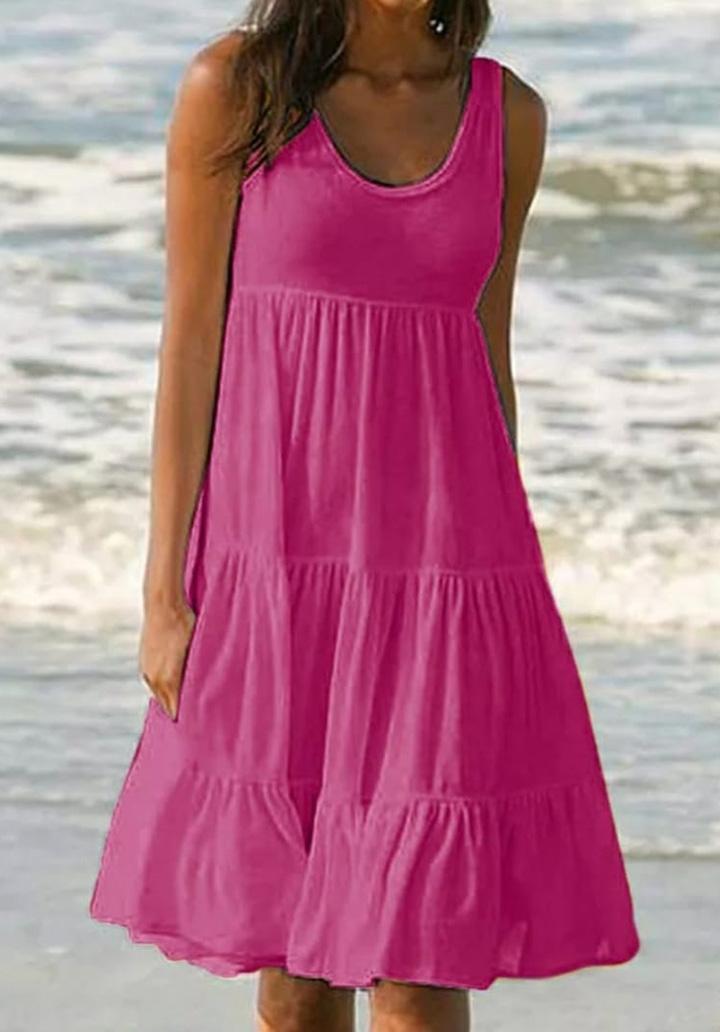 Kalın Askılı Kloş Süprem Elbise (Pembe)