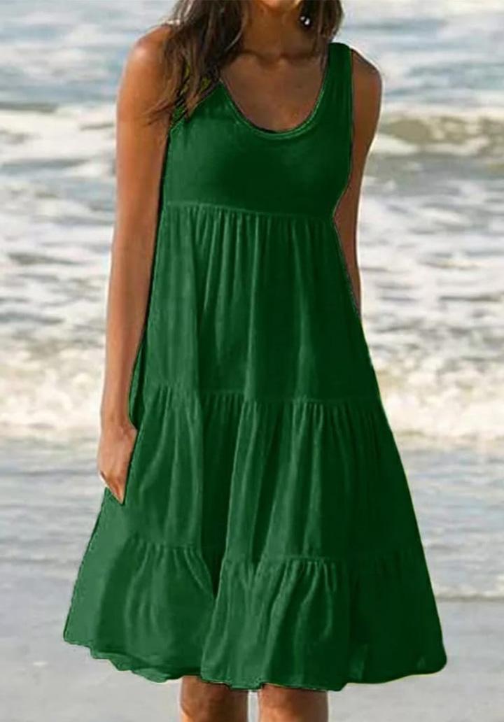 Kalın Askılı Kloş Süprem Elbise (Yeşil) - 1