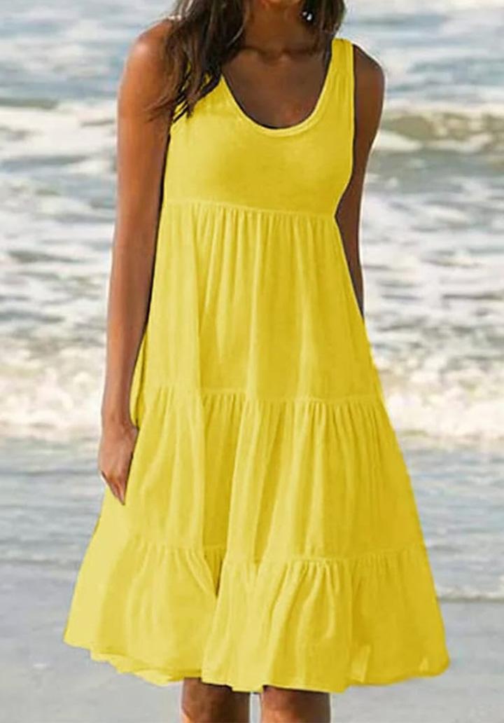 Kalın Askılı Kloş Süprem Elbise (Sarı)