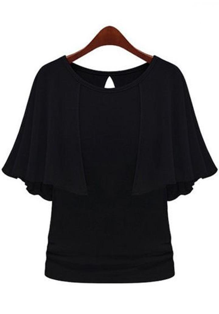 Kol Volanlı Süprem Bluz (Siyah)