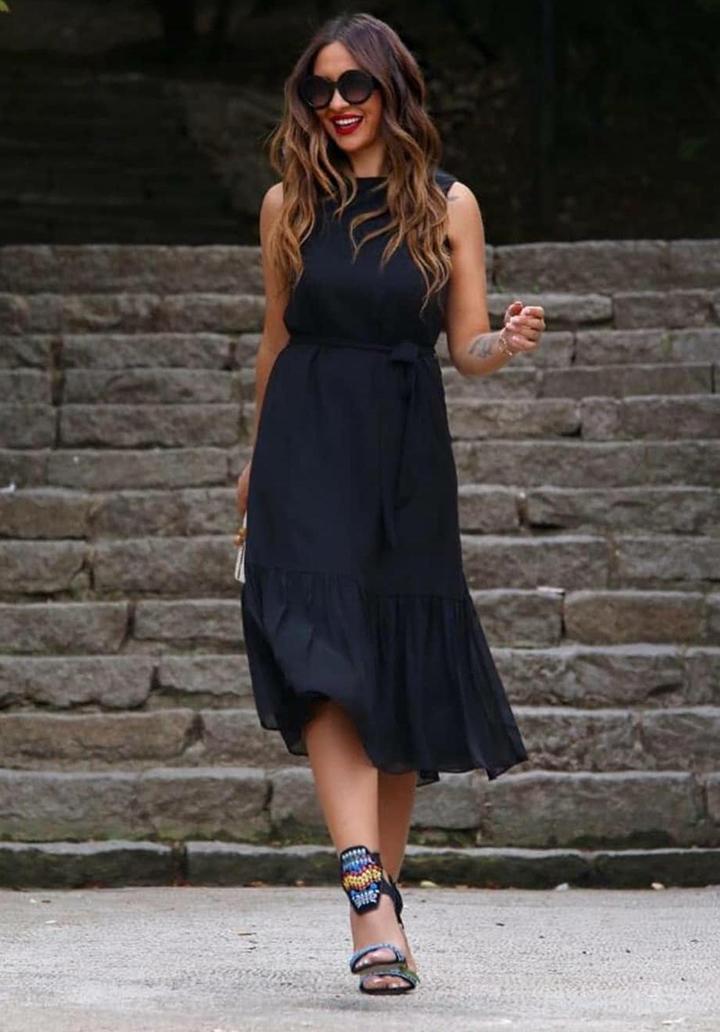 Midi Boy Eteği Volanlı Elbise (Siyah)