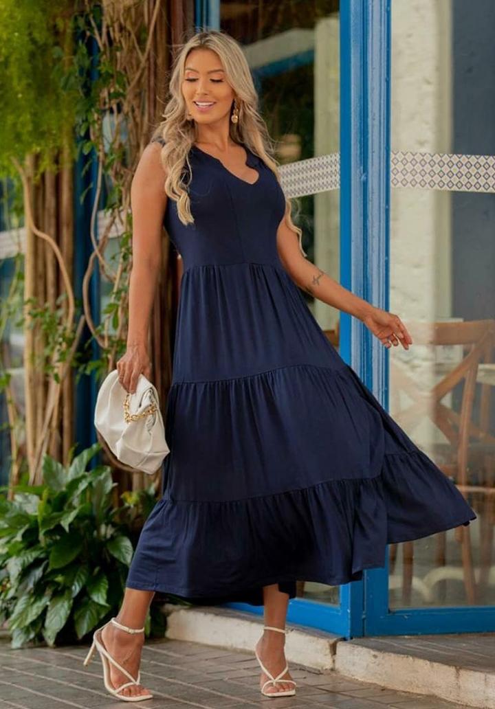 Yaka Detay Kolsuz Süprem Elbise (Lacivert)