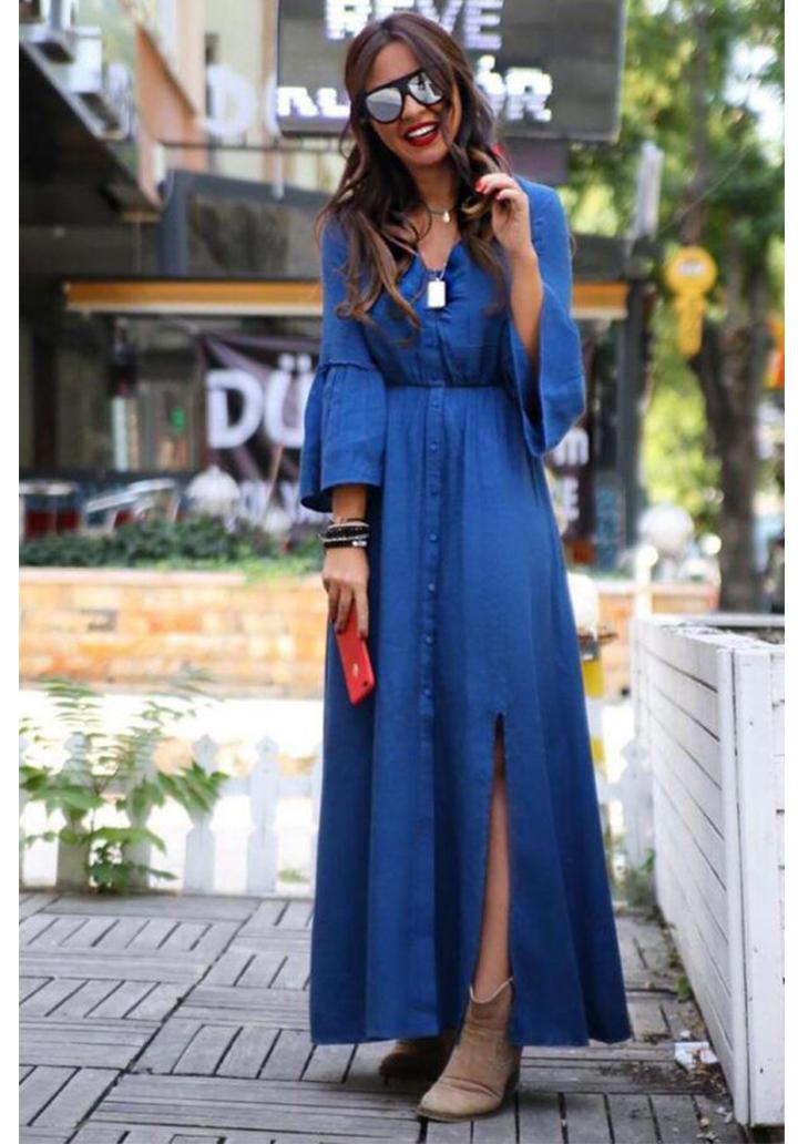 Kolları volanlı yeni sezon gömlek elbise(mavi)