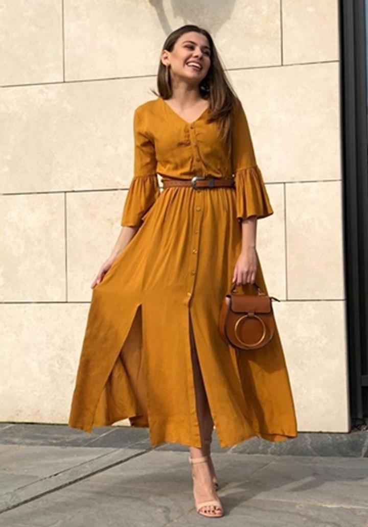 Kolları volanlı yeni sezon gömlek elbise(hardal)