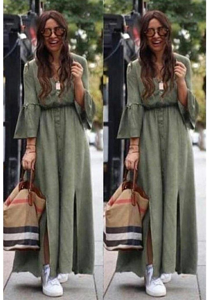Kolları volanlı yeni sezon gömlek elbise(haki)