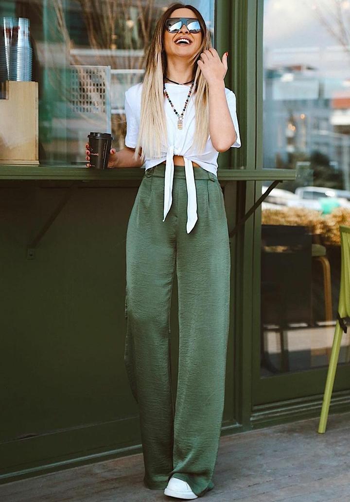 Beli Lastikli Airobin Kumaş Pantolon (Yeşil) - 1