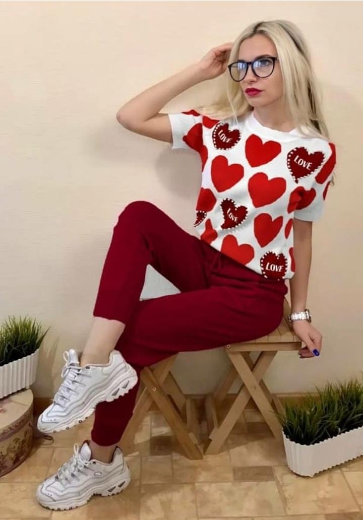 Kalp Baskılı Bluz Pantolon İkili Takım (Bordo)